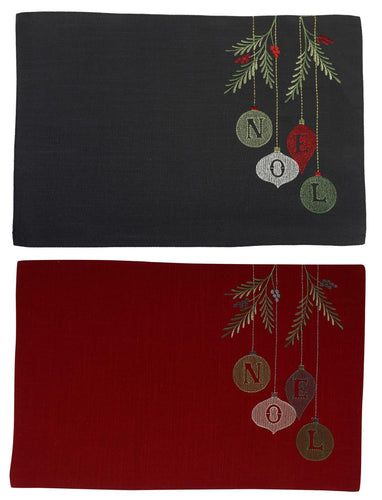 Embroidered Noel Placemats - Charcoal or Red (26cm x 41cm)
