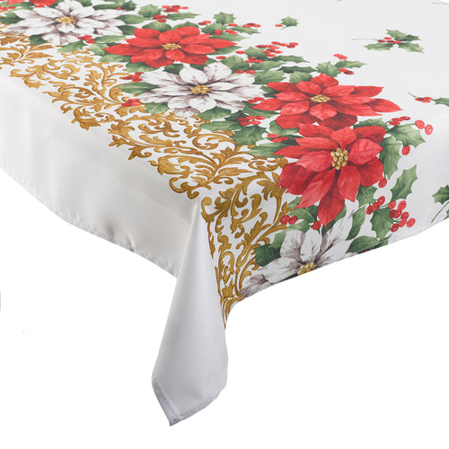 Poinsettia Floral Festive Christmas Tablecloth (Various Sizes)