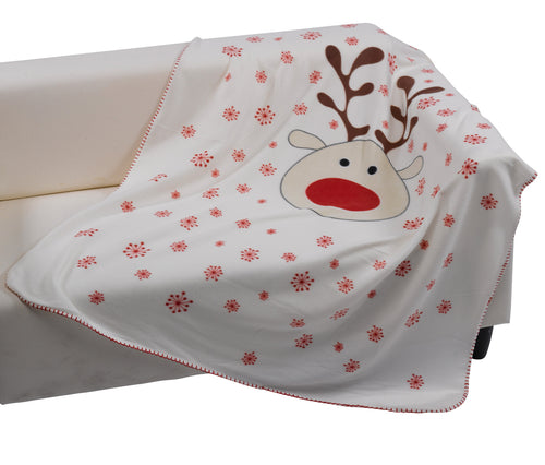 Christmas Printed Soft Fleece Throw - 125cm x 150cm (Reindeer)