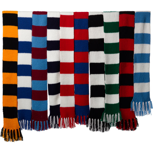 Striped Football / Rugby Scarf Kit - Knitting Pattern & Wool (Various Colours)