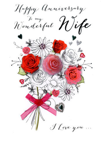 Wife Anniversary - Bouquet Of Roses - Luxury Greetings Card