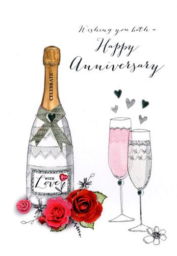 Your Anniversary - Champagne & Roses - Luxury Greetings Card