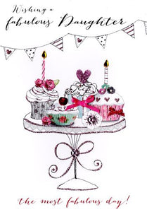 Daughter Birthday - Cupcakes On Stand - Luxury Greetings Card