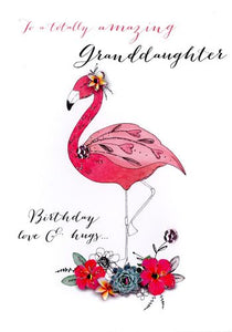 Granddaughter Birthday - Flamingo & Flowers - Luxury Greetings Card
