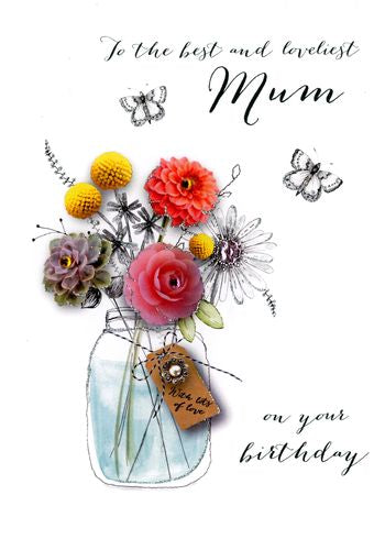Mum Birthday - Flowers In Vase - Luxury Greetings Card