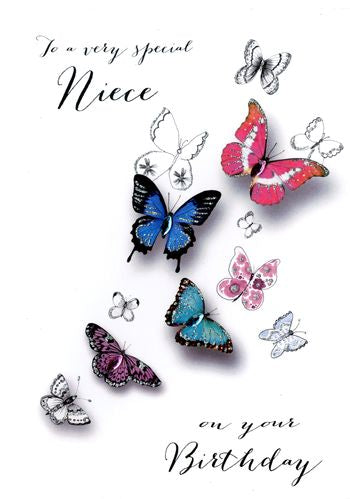 Niece Birthday - Butterflies - Luxury Greetings Card