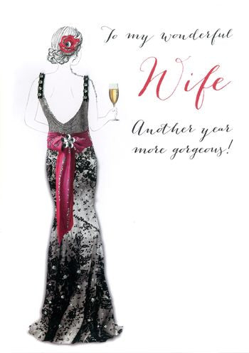 Wife Birthday - Lady Holding Champagne Flute - Luxury Greetings Card