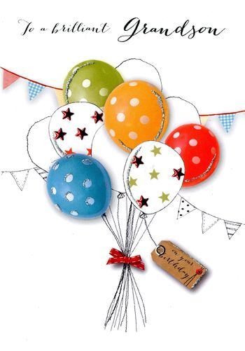 Grandson Birthday - Balloons - Luxury Greetings Card