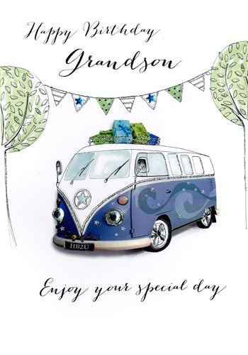 Grandson Birthday - Camper Van - Luxury Greetings Card