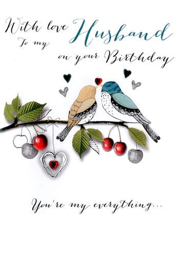 Husband Birthday - Birds On Branch - Luxury Greetings Card