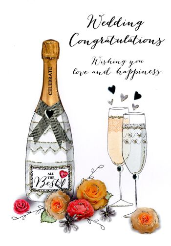 Wedding Day - Champagne - Luxury Greetings Card