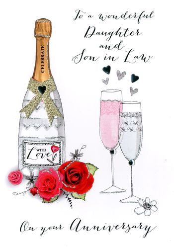 Daughter & Son In Law Anniversary - Champagne & Roses - Luxury Greetings Card