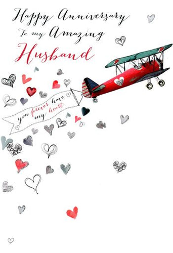 Husband Anniversary - Aeroplane Flying Banner - Luxury Greetings Card