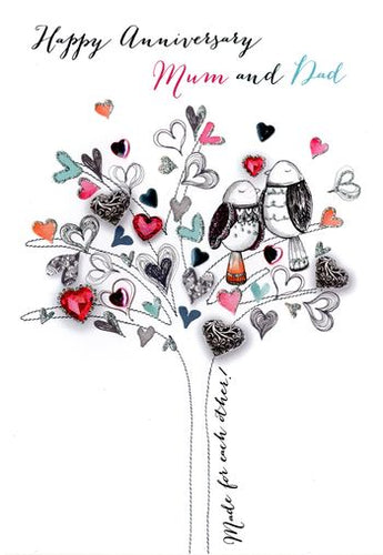 Mum & Dad Anniversary - Tree of Hearts & 2 Birds - Luxury Greetings Card