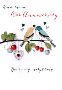 Our Anniversary - 2 Birds On Branch - Luxury Greetings Card