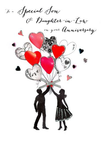 Son & Daughter In Law Anniversary - Silhouette Of Couple - Luxury Greetings Card