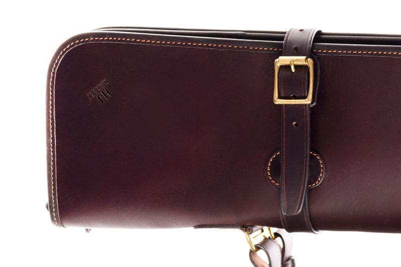 "HJ HUSSEY Leather Double Gun Slip 32"" / 132cm (Chocolate)"