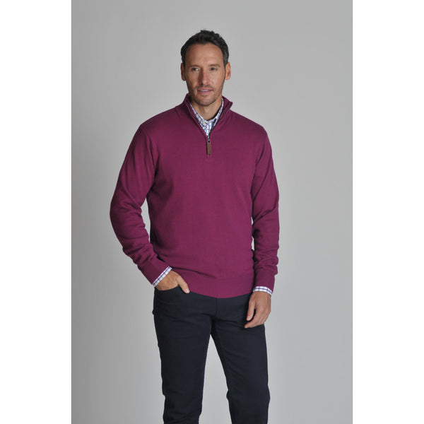 Cotton Cashmere 1/4 Zip Jumper (Plum)