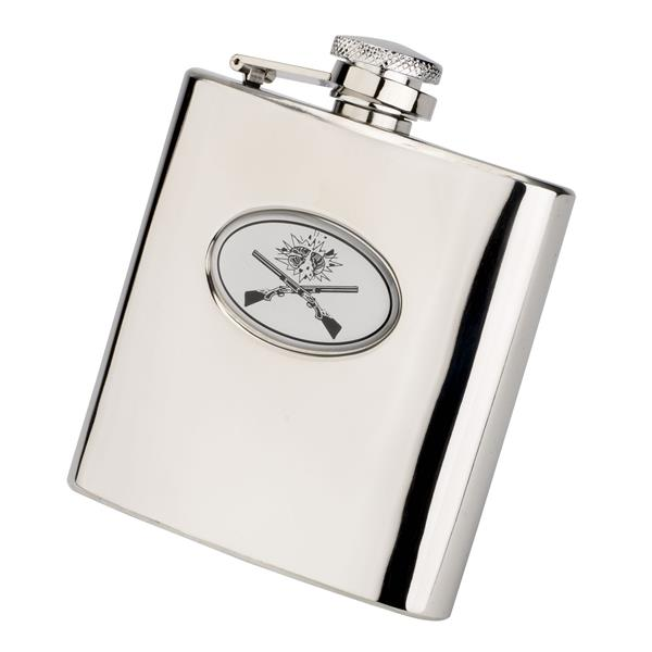 Crossed Gun Stainless Hip Flask 6oz