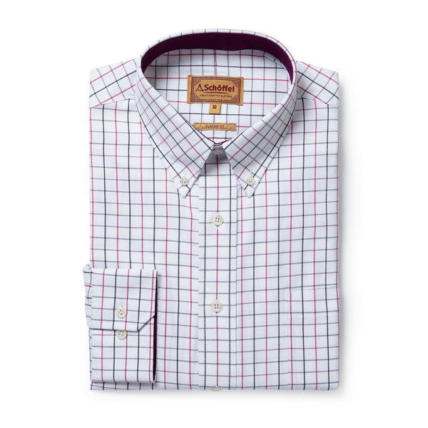 Schoffel Mens Shirt Banbury Pink Grey Check cotton