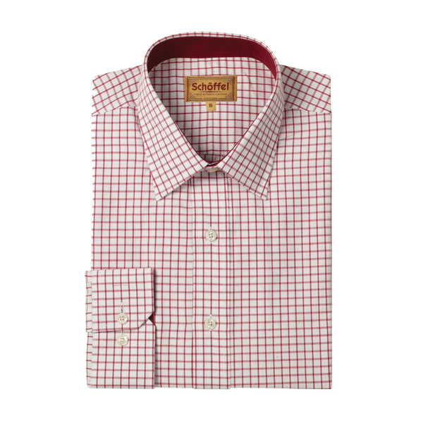 Schoffel Mens Cotton Checked Shirt Cambridge Red
