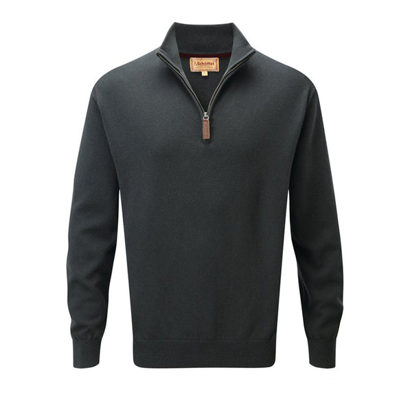 Cotton Cashmere 1/4 Zip Jumper (Forest)