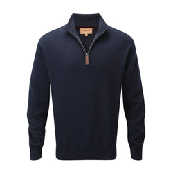 Cotton Cashmere 1/4 Zip Jumper (Navy)