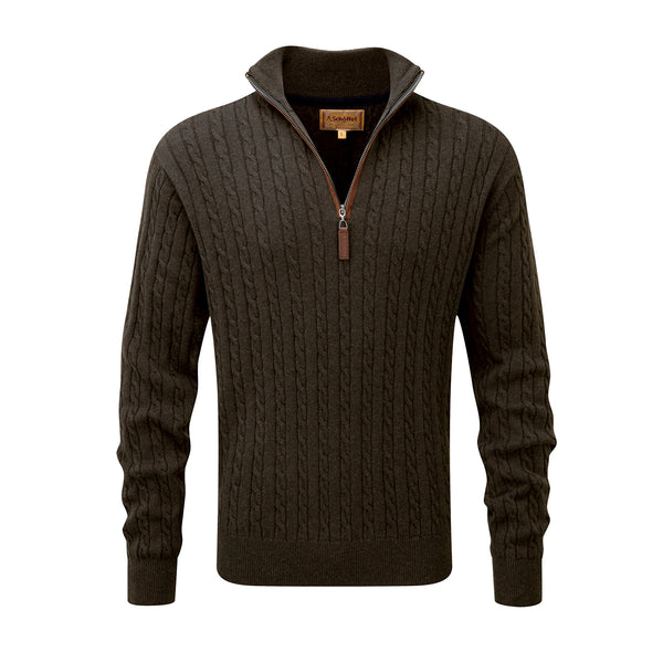 Cotton Cashmere Cable 1/4 Zip Jumper (Loden Green)