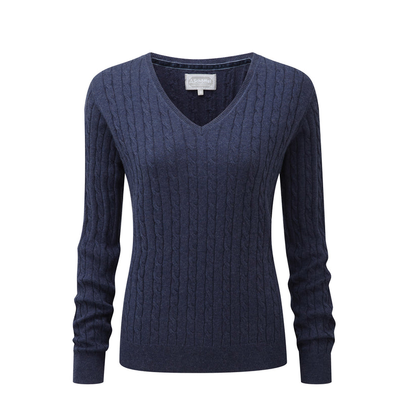 schoffel ladies cashmere cotton v-neck