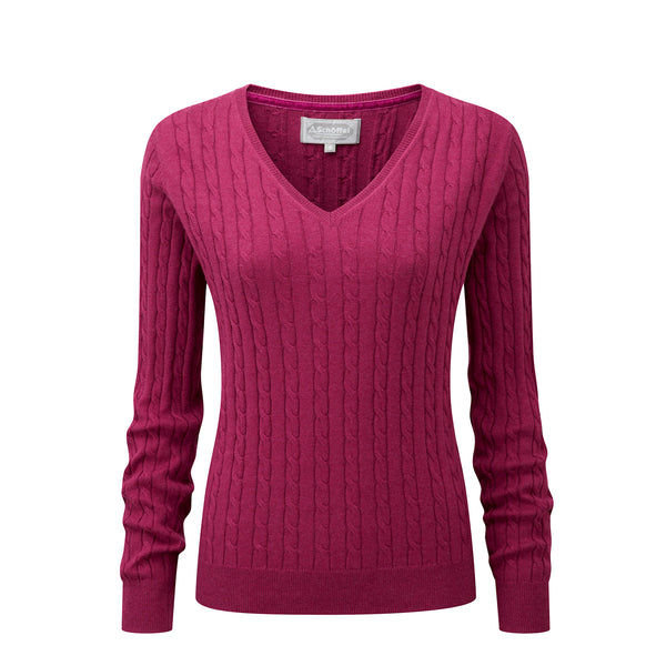 Cotton Cashmere Cable Knit V Neck Jumper (Raspberry)