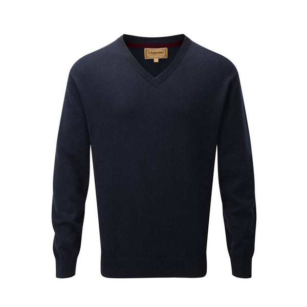 Cotton Cashmere V Neck (Navy)