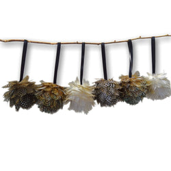 Feather Ball Decorations (Set of 6)