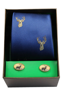 Stags Head on Royal Blue Tie & Cufflink Set