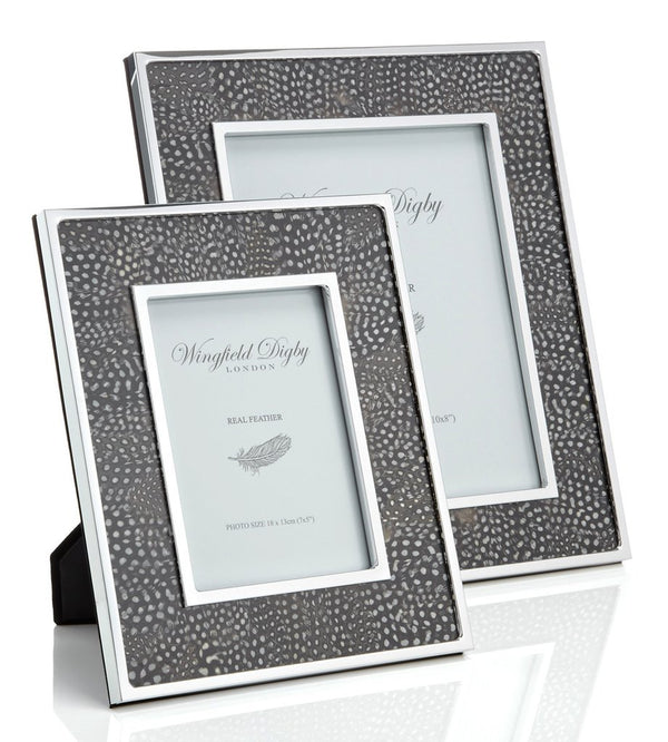Guinea Fowl Feather & Glass Photo Frame