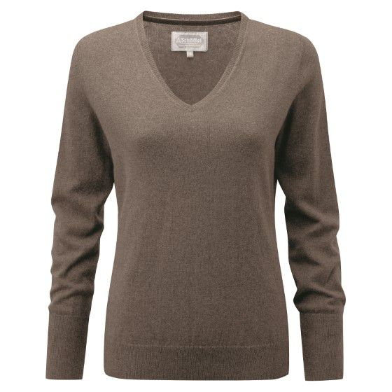 Cotton Cashmere V Neck Jumper (Mink)