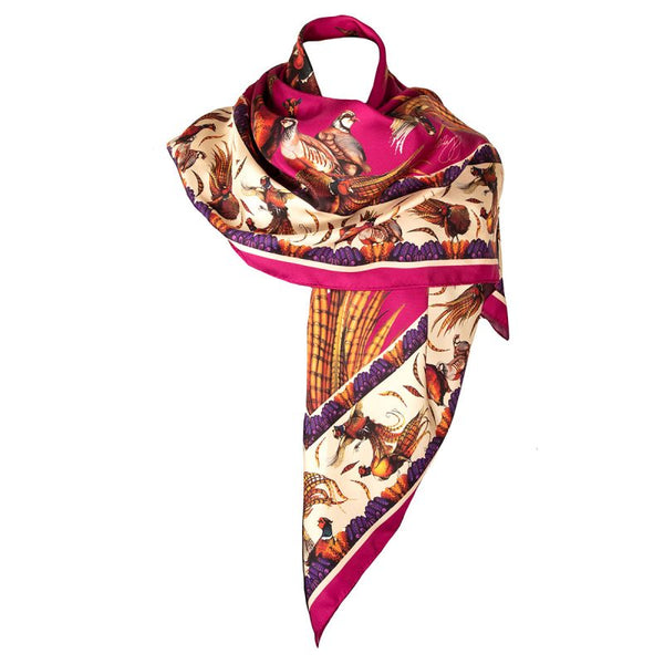 Large Square Silk Scarf 'George & Friends' (Magenta)