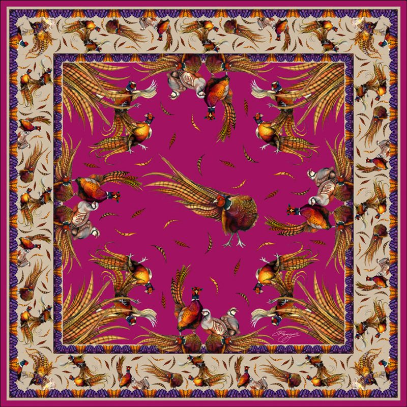 Large Square Silk Scarf (Magenta)
