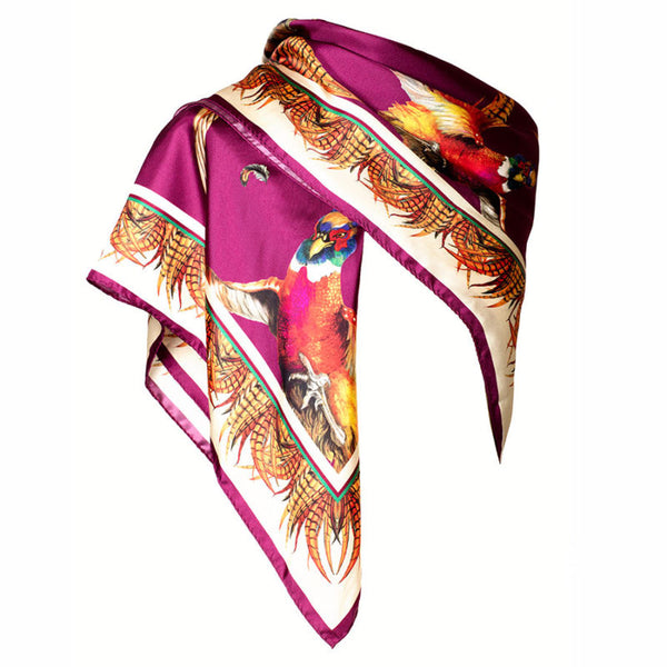 Large Square Silk Scarf 'Turf War' (Mulberry)