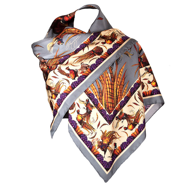 Large Square Silk Scarf (Pigeon)