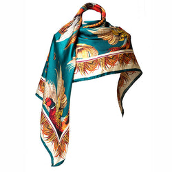 Large Square Silk Scarf 'Turf War' (Teal)