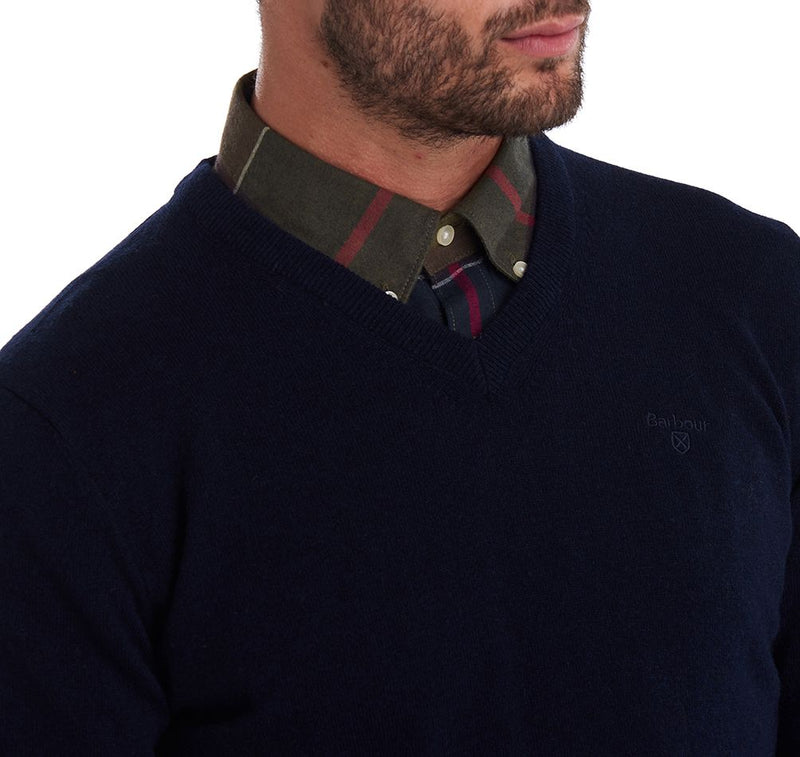Essential Lambswool V Neck Jumper (Navy)
