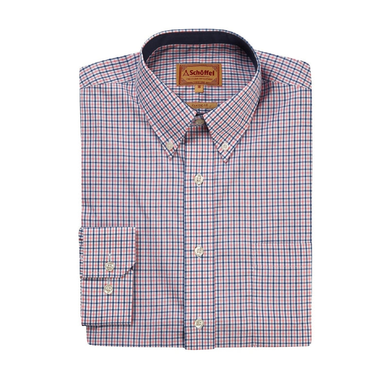 schoffel mens checked shirt pink white blue