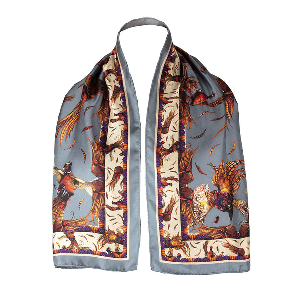 Narrow Silk Scarf (Pigeon)