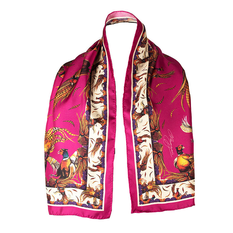 Narrow Silk Scarf (Magenta)