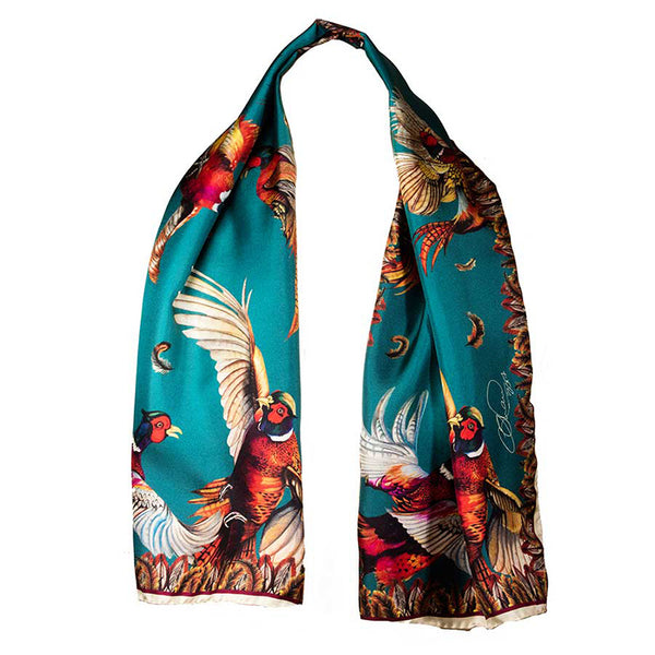 Narrow Silk Scarf (Teal)