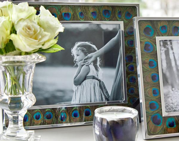 Peacock Feather & Glass Photo Frame