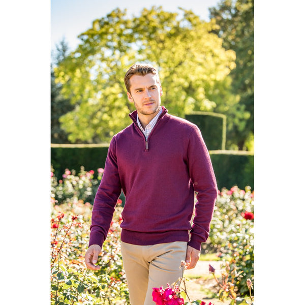 Cotton Cashmere 1/4 Zip Jumper (Fig)