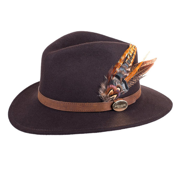 Suffolk Fedora Dark Brown (Gamebird Feather)