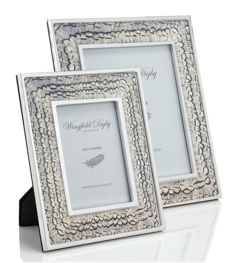 White Pheasant Feather & Glass Photo Frame