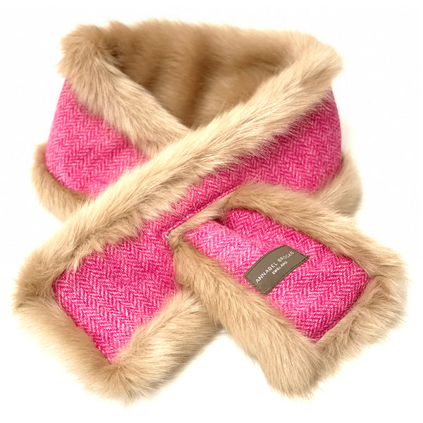 Neck Warmer (Beige & Pink Herringbone)